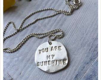 You Are My Necklace Sterling Silver Handstamped