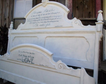 Lexington Victorian Mansion king bed shabby chic carved wood Love quote french romantic distressed white