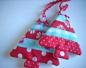 Fabric Christmas ornaments Set of 2 red white aqua