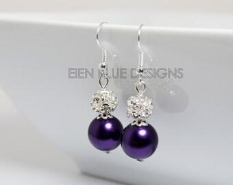 Pearl and Rhinestone Earrings, Purple Pearl Earrings, Bridesmaid Pearl Earrings, Eggplant Pearl Earrings, Plum Earrings, Pearl Earrings