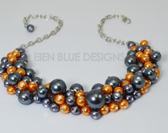 Pewter and Orange Pearl Cluster Necklace, Bridal Jewelry, Gray Chunky Necklace, Pewter Bridesmaid Necklace, Wedding Jewelry, Pewter Necklace