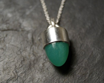 Green Chrysoprase Bullet Necklace in Sterling Silver