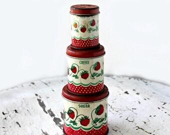 vintage tin litho toy canister set of 3---Wolverine USA, Sunny Suzy strawberry pattern, child's toy