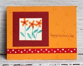 Orange Flowers Valentine's Card, Handmade Love Note, Three Flowers for Valentine, Orange and Red Notecard for Wedding Anniversary