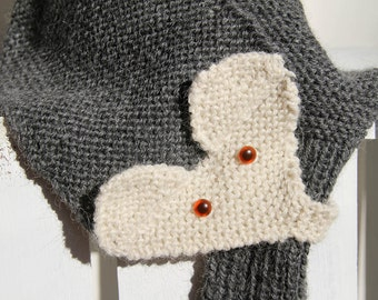 Hand Knit Fox Scarf, Adjustable Neck Warmer with Pull Through Keyhole, Warm Winter Scarf in Gray and Cream for Adults and Teens