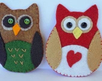Felt Owl Refrigerator Magnets, Set of Two OOAK Owl Magnets,