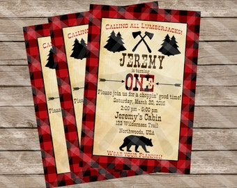 Lumberjack Birthday Invitation Red Plaid with Bear Northwoods Cabin Personalized Digital Download, YOU PRINT