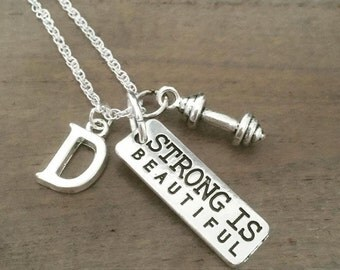 Strong is Beautiful necklace personalized jewelry initial silver stainless steel