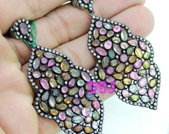 2.65ct rose cut diamonds turmaline victorian silver earring dangle MVE_0055 Free SHIPPING