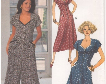 1993 - Butterick 6874 Vintage Sewing Pattern Sizes 6/8/10/12 Jessica Howard Easy Dress Jumpsuit Semi Fitted A Line Cap Sleeves Pockets Tucks