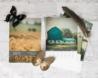 2017 Calendar, 5x7 Calendar, Farm Calendar, 2017 4x6 Country Calendar, Rustic Office Decor, Small Desk Calendar, Barn Calendar