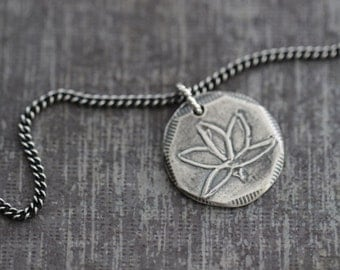 Lotus Charm Necklace, Lotus Pendant, Sterling Silver, Yoga Jewelry,  Charm Necklace, Wire Wrapped, Curb Chain, Meditation, 18 inches
