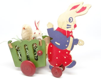 1930's Bunny Rabbit Pull Toy for Easter, Antique Wagon Cart Candy Container