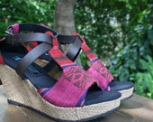Ethnic Womens Sandals Tribal Naga Textiles, Faux Leather Straps, Wedge Heel, Vegan - Leighanna FREE Shipping