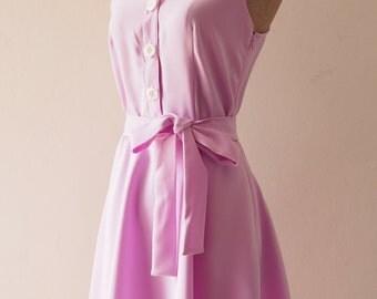 DOWNTOWN - Purple Shirt Dress, Lavender Bridesmaid Dress, Purple Casual Dress, 1950 Inspired Dress, Vintage Style Party Dress, XS-XL,Custom