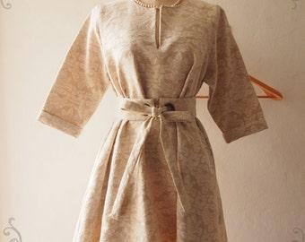 Flash Sale Winter Dress Marie Antoinette Inspired, Toilette Vintage Inspired Dress, Beige Pockets Dress, Fall Dress, Maternity Dress -Win...