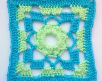 Instant Download Crochet PDF pattern - LD-0112 Geometrical Afghan Block
