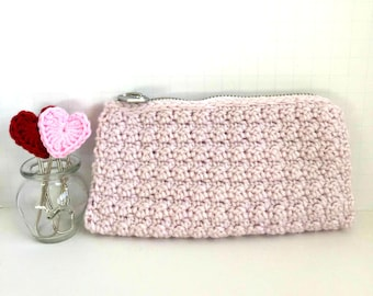 Crochet Clutch Case: Pale Pink - Purse. Modern chic. Bridesmaid Gift.  Gifts for Mom. Wallet. Crochet Trends. Makeup Case. Cosmetic Case