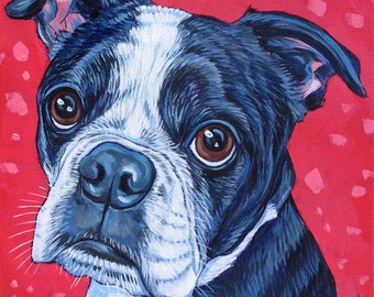 "Custom Pet Portrait Painting on Canvas in Acrylics 8"" x 8"" of a Dog, Cat, Kitten, Puppy or Other Animal. Ready to Hang Hand Painted OOAK Art"