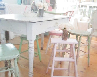 Shabby vintage  pink chippy ladder farmhouse shabby chic prairie cottage