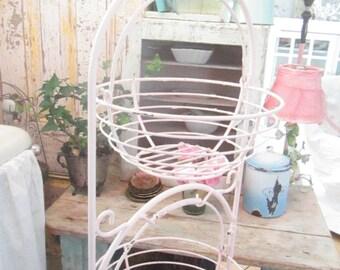 Vintage chippy pink metal 3 baskets fruit  or vege holder shabby chic cottage prairie