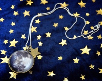 READY TO SHIP, Double Sided Bronze Moon Necklace