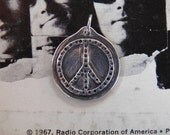 Silver Peace Sign Pendant, Handmade, Handcrafted