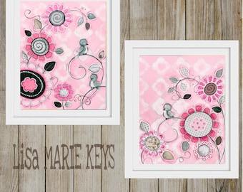 Grey Pink Nursery Art ~ Kids Wall Art Set ~ Art Prints ~ Girls Room ~ Whimsical Bird Prints ~ Girls Nursery ~ Funky Flowers ~ Nursery Decor