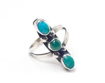 Turquoise Ring, Three Stone, Split Ring Band, Silver, Southwestern, Size 5