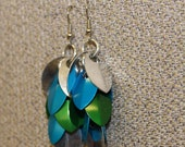 Blue, silver and green mix shaggy scale earrings
