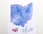 Ohio state map art print watercolor buckeye wall art