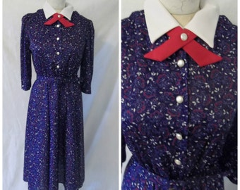 Vintage Peter Pan Collar Floral Dress '80s Does Mod '60s Ascot Continental Tie Midi Length Whirlaway Frocks Size M / L Medium Large 12 / 12P