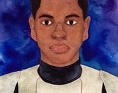 Original 'Finn from Star Wars The Force Awakens' Watercolour Portrait