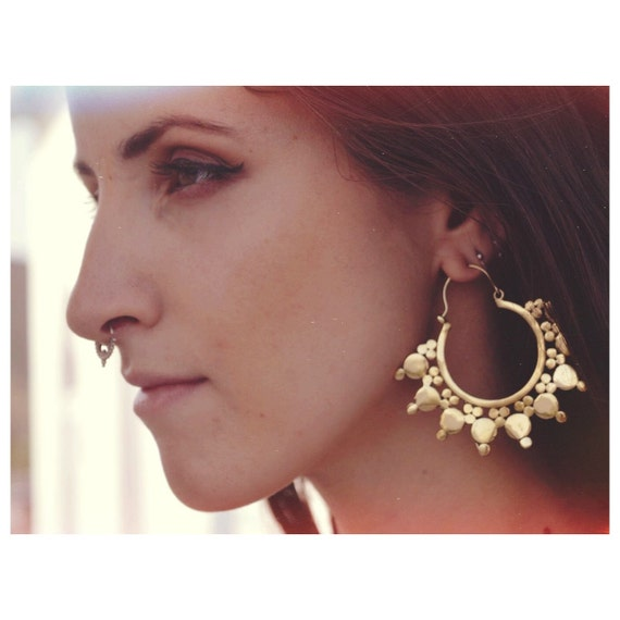 TRIBAL EARRINGS - Statement Brass Earrings - Gold Earrings - XL Earrings - Festival jewellery - Tribal Jewellery - Ethnic Jewellery -Goddess