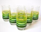Vintage Striped Glass Set, Green Drinking Glasses, Retro Tumblers, Set of 6, Green Striped Glassware, 12 oz Tumbler Set, Water Glasses