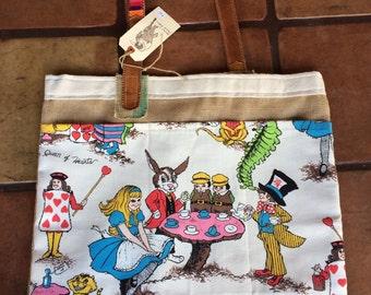 BIG burlap market tote bag shopper Vintage fabric Alice in Wonderland