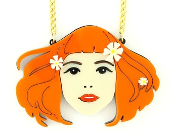 Lou Taylor x Madam Popoff Limited Edition Opheli-yeah! 70's Style Girl Statement Acrylic Necklace Redhead Gingers with Print