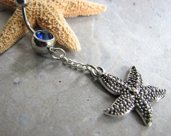 Starfish Belly Button Ring, Dangle Belly Button Piercing Cute Belly Rings, Bauchnabel Piercing Bellybutton Navel Ring