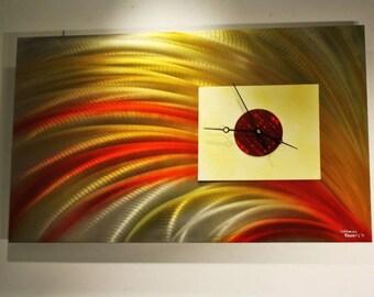 Wilmos Kovacs - Metal Wall Art Clock Painting, Handmade Clock, Metal Wall Clock Sculpture Art Decor, Original Art - W400