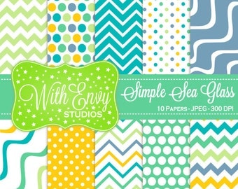 SALE Yellow Teal and Blue Digital Paper - Chevron Scrapbook Paper - Polka Dot Digital Paper - Striped Paper - Personal & Commercial Use