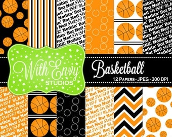 50% OFF  Basketball Digital Paper - Basketball Scrapbook Paper - Sports Digital Paper - Black and Orange Paper - Personal & Commercial Use