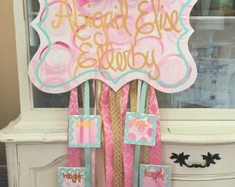 Baby girl door hanger- u choose colors