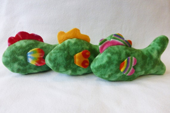 Fish dog toy with replaceable squeaker multi green print for Fish dog toy