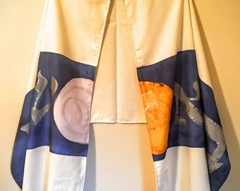 "Tallit ""Bere'shit"" Creation Blue - Includes tallit bag."