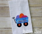 Easter Wagon with Eggs Applique Kitchen Towel, Home Decor...Easter Decor Appliqued Kitchen Towel, FREE Personalization