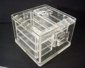 Fabulous Mid Century Lucite Acrylic Storage Casket w/Six Trays- Serving, Jewelry, Collectibles, Multi-Purpose