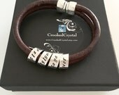 Leather Secret Message Bracelet - Sterling Silver Personalized - Scroll - Unisex - Magnetic Clasp - Mens - Womens