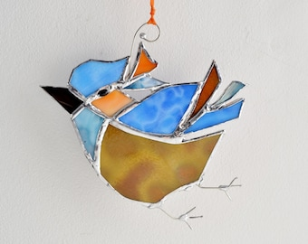 Stained Glass Bluebird The Happy Bluebird Home Decor Suncatcher