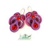 SALE- Soutache Earrings- Berry colours-Swarovski