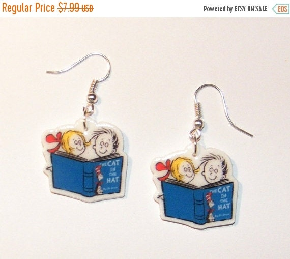 ON SALE Cat in the Hat Dr Suess Birthday Earrings